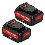 2 Pack 20 Volt 6.0Ah Max Lithium Battery Replace for Dewalt 20V Battery DCB207 DCB201 DCB200 DCB203 DCB204 DCB205 DCB206 for Dewalt 20V DCD/DCF/DCG/DCS SeriesTools