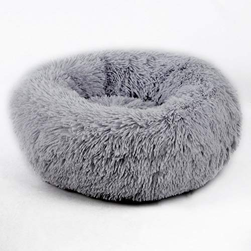 YSJ LTD Huisdier-Nest, Super Soft Round hondenbed wasbaar lange pluche hondenmand Deep Sleep Dog House Velvet Mats Sofa for Hondenmand Hondenbed Medium grijs