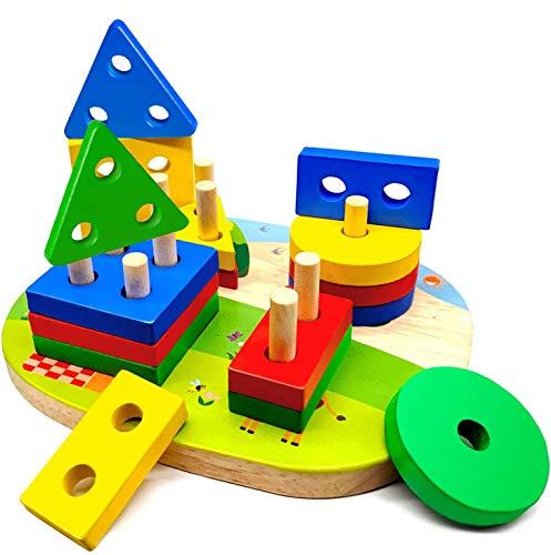 Juguetes de Madera Niños pequeños, Juguetes Montessori Bebes 1 2 3 Año, Juegos Tablero Montessori con 4 Formas Geométricas, Puzzles para Clasificar y Apilar, Regalo Educativos Niño Niña de Preescolar