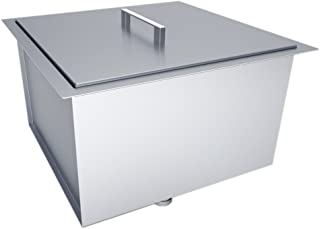 SUNSTONE B-SK20 Over/Under Height Single Basin Sink with Cover, 20
