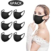 6 Pack Face Masks,Anti Dust Mask, Unisex Carbon Fiber, Mouth Mask, Reusable & Washable Masks for Running, Cycling, Skiing Motorbikes, Outdoor Activities(Black)