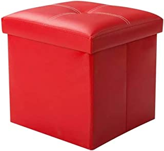 Tiemahun Organizer Folding Storage Ottoman Cube/Puppy Step/Footrest Stool/Toy Box Faux Leather Chest with Memory Foam Seat, Bench Seat Foot Rest Stool Coffee Table (Red)