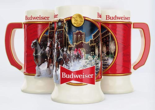 Budweiser 2020 Clydesdale Holiday Stein  Brewery Lights  41st Edition  Ceramic Beer Mug  Christmas Gifts for Men Father Husband