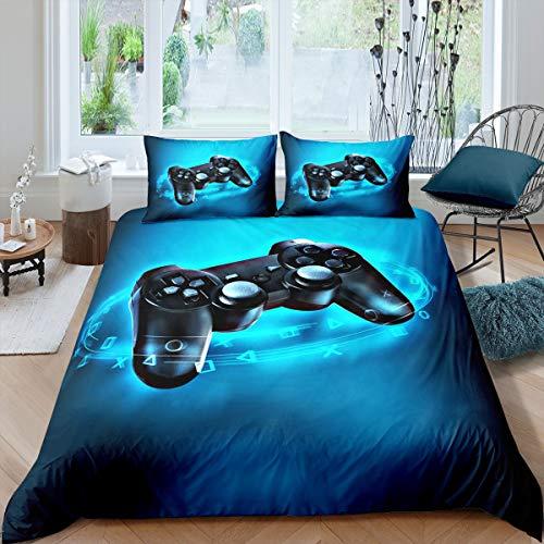 Loussiesd Juego de ropa de cama infantil con diseño de Gamepad, funda de edredón azul con temática de videojuegos, 135 x 200 cm, suave microfibra con cremallera