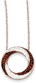 """Lex & Lu Sterling Silver Rose Gold Plated w/Stellux Crystal Pendant Necklace 18"""""""