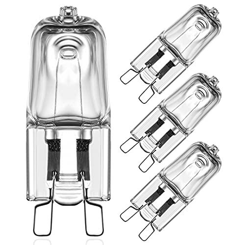 Bombillas Halógenas G9 40W Regulable 2800K Blanca Cálida, Resistentes al Calor 300 °C Temperaturas, 230V Bombillas Cápsula G9, 360° Ángulo de Haz G9 Halógenas Para Horno y Microondas, 4 unidades