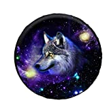 POLERO Spare Tire Cover Wheel Tire Cover Protector - Galaxy Wolf Fit for Trailer, RV, SUV and Many Vehicle 14-19inch