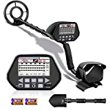 Aneken Metal Detector, Metal Detector 3 Modes are Optional, High-Precision Waterproof Search Coil 39.37-51.18Inch Height-Adjustable Metal Detectors LCD Display, with Folding Shovel and 2x9V Batteries - Best Reviews Guide