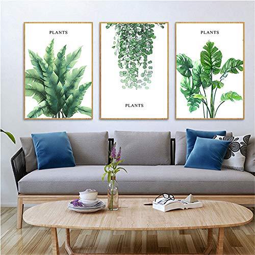 WSNDG Stijl verse plant canvas schilderij woonkamer achtergrond moderne minimalistische triple decoratieve schilderij zonder fotolijst 50 * 70CM(no frame) C7