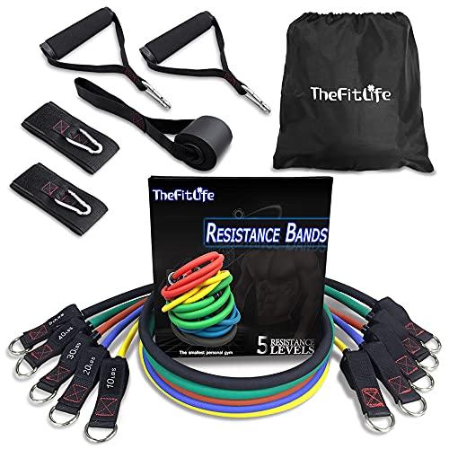 TheFitLife フィットネスチューブ トレーニングチューブ 超強化版 天然ラテックス製 5レベル負荷 強度別5本...