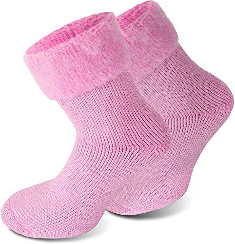 Polar Husky® 3 Paar Sehr warme Socken mit Vollplüsch & Schafwolle/Nie Wieder kalte Füße! Farbe Extrem/Hot/Rosa Größe 35/38