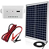 ECO-WORTHY 25 Watts 12V Solar Panel Kit: Waterproof 25W Solar Panel + USB Port Charge Controller + 6 feet Isolated Battery Clips for Light, Gate Opener, Chicken Coop