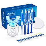 SINORIKO Teeth Whitening Kit with 6X LED Light for Sensitive Teeth 10 Min Fast Result, 3 Carbamide Peroxide Whitening Gel 1 Remineralizing Gel, Mouth Tray with Case, Home Teeth Whitener