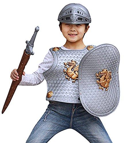 DEMU Ritterrüstung für Kinder 4-teilig Ritterkostüm Kinderkostüm Ritter Faschingskostüm Halloween Silber
