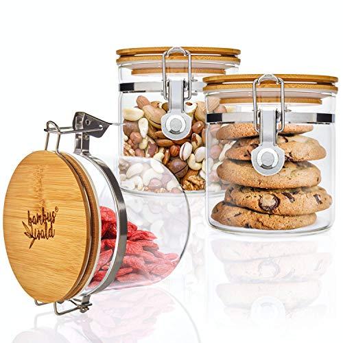 bambuswald© 3er Set Vorratsgläser mit Deckel aus 100% Bambus & luftdichten Metallverschluss - 3 Stück x 550ml - Vorratsdosen Borosilikatglas Glas-Behälter Glasdose Nudelbehälter Keksdose Kaffeedose