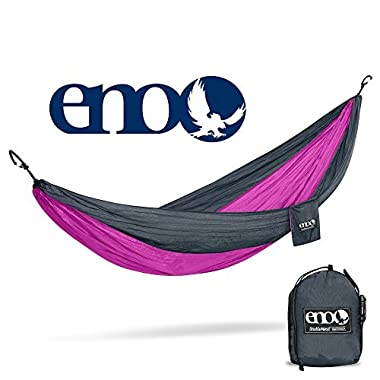 Eagles Nest Outfitters ENO DoubleNest Hammock, Portable Hammock for Two, Charcoal/Fuchsia