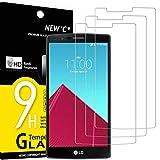 NEW'C 3 Unidades, Protector de Pantalla para LG G4, Antiarañazos, Antihuellas, Sin Burbujas, Dureza 9H, 0.33 mm Ultra Transparente, Vidrio Templado Ultra Resistente