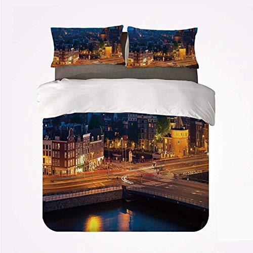 Vista nocturna de la ciudad de Amsterdam, famoso monumento de arquitectura de viajes urbanos europeos ,Juego de ropa de cama con funda nórdica de microfibra y 2 funda de almohada - 220 x 240 cm