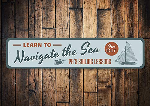 Navigate Sail Sign, Sailing Navigator, Beach Sail Sign, Metal Beach Sign, Ocean Decor, Beach, Beach Decor - Quality Aluminum Decoration, Metal Signs Tin Plaque Wall Art Poster 18