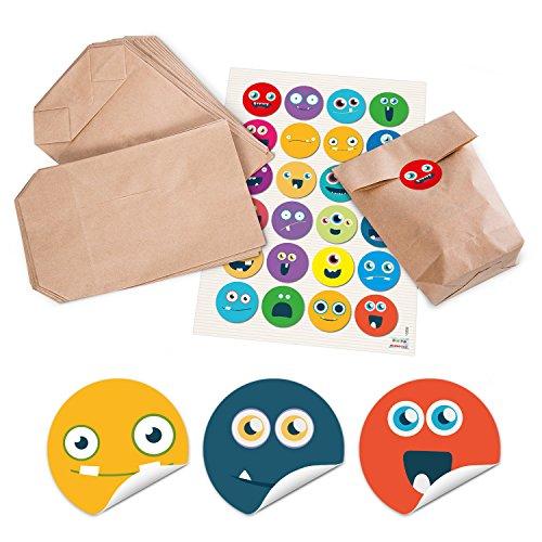 24 kleine braune Papier-Tüten Papierbeutel Geschenktüten für Mitgebsel 14 x 22 x 5,6 cm + 24 runde Aufkleber Sticker bunte LUSTIGE GESICHTER, emoji smilies als Geschenk Verpackung