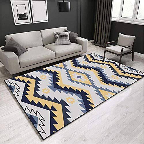DJHWWD Kleiner Runder Teppich Teppich blau gelb Zahnstreifen Streifen Muster weichen Teppich rutschfest Spiel Teppich Antirutschmatte Teppich gelb 120 x 160 cm