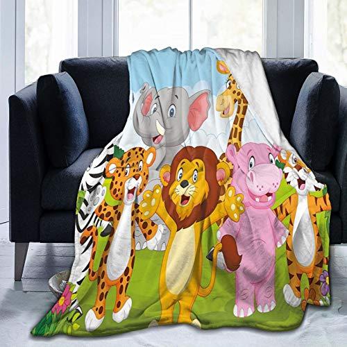 Manta mullida, diseño de animales de la sabana africana divertida, safari, selva feliz, naturaleza silvestre feliz, ultra suave, manta de bebé, para dormitorio, cama, TV, 152 x 127 cm
