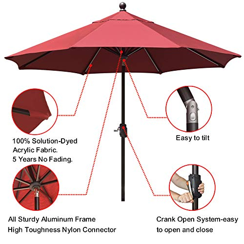 EliteShade Sunbrella 9Ft Market Umbrella Patio Outdoor Table Umbrella with Ventilation and 5 Years Non-Fading Top,Burgundy
