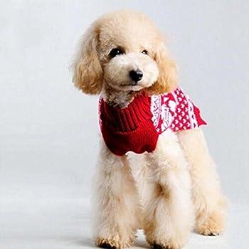 Bolbove pour Animal Domestique Rouge Flocon de Neige Pull à col roulé pour Petits Chiens et Chats en Tricot, XX-Small, Rouge