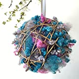 Refillable Wild Bird Nesting Ball - Natural Wool Nesting Material Dispenser - Birder Garden Decor Gift