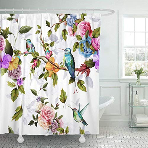 Afagahahs Fabric Shower Curtain Curtains with Hooks Red Flower Humming Bird Roses Peony with Leaves on White Watercolor Pattern Blue Floral Vintage Hummingbird Waterproof Decor Bathroom