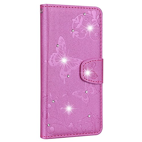 Sundayther SainCat Kompatibel mit Huawei P20 Pro Hülle Schmetterling Leder Flip Case Glitzer Strass mit Spiegel Schützhülle Stoßfest Handyhülle Weicher Bookstyle PU Ledertasche-Pink