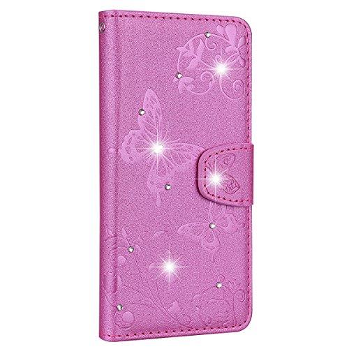 Sundayther SainCat Kompatibel mit Huawei Honor 10 Hülle Schmetterling Leder Flip Case Glitzer Strass mit Spiegel Schützhülle Stoßfest Handyhülle Weicher Bookstyle PU Ledertasche-Pink