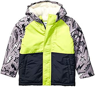 Spotted Zebra Warm Puffer Coat Infant-and-Toddler-Down-Alternative-Outerwear-Coats, Lightning Bolts, Medium / 8 US