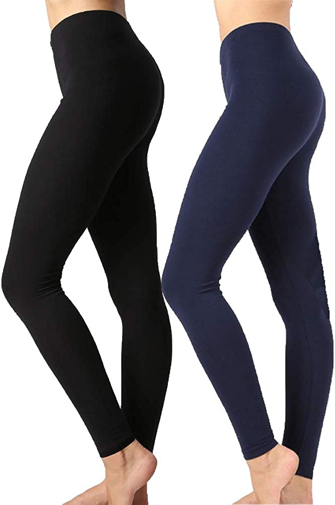Zenana Outfitters Womens Full Length Cotton Solid Leggings