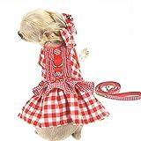 FLAdorepet 3-teiliges kariertes Hundekostüm für Prinzessinnenkostüm für kleine Hunde, Hundekleid, Haarschleife und Lederleine
