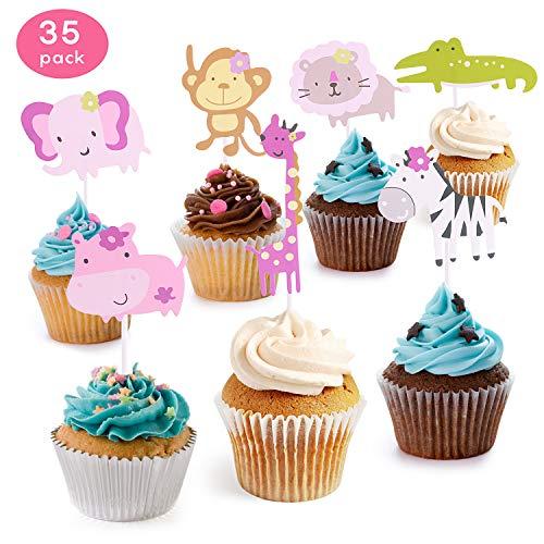 KATELUO 35 Stück Cupcake Deko,Muffin deko,Cute Zoo/Dschungel Tier Kuchen Cupcake Topper für Kinder Baby Dusche Geburtstag Party Supplies ,Löwe Nilpferd AFFE Elefant Zebra Giraffe Krokodi (Groß)
