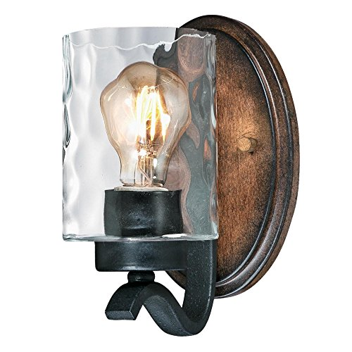 Westinghouse Lighting 6331600 Barnwell One-Light Indoor Wall Fixture, Textured Iron and Barnwood Finish with Clear Hammered Glass, 1, Iron & Barnwood