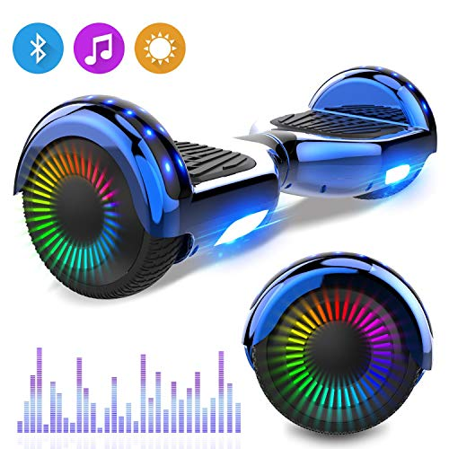 RCB Hoverboards Kinder 6,5 Zoll Elektro Scooter mit Bluetooth LED Flash Elektroroller mit leistungsstarkem Motor blinkt Segway Neues Modell Spielzeug und Geschenk für Kinder