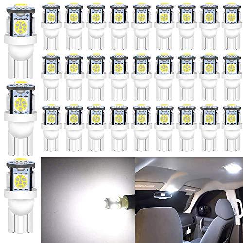 ALOPEE 30-Pack 24V Blanc 194 T10 168 2825 W5W Ampoule 5050 5 SMD LED pour Dôme de CLampe de Courtoisie de Coffre Lumières de Tableau de bord de Plaque D'immatriculation