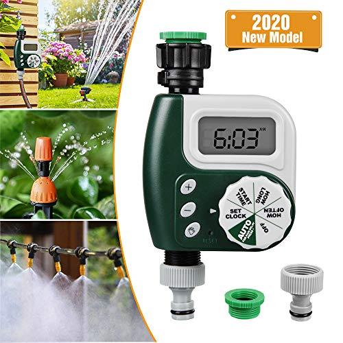 infinitoo Digitaler Wasser Timer, Bewässerungsuhr Wasserdichter LCD Display Digital Automatische zeitsparende, Bewässerung sprogramme bis zu 30 Tagen, ideal zur GartenGewächshaus Landwirtschaft