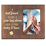 Ku-dayi A Best Friend is Like A Four Leaf Dover - Inspirational Friendship Photo Picture Frame for for Friends, Her, Soul Sister, BFF, Besties - Inspirational Gifts for Birthday Graduation Christmas
