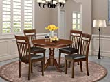 East West Furniture HLCA5-MAH-LC 5-Pc Dinette Set Included a Round Wooden Table and 4 Wood Dining Faux Leather Kitchen Chairs Seat & Slatted Back, 5-piece