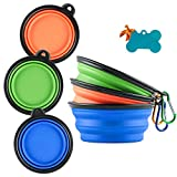 MXZONE 3 Collapsible Dog Bowl, Portable Travel Water Silicone Bowl for Small Pet Dog Cat Food Water Feeding, Free Pet ID-Tag