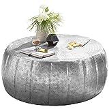 FineBuy Couchtisch JAMALI 72x31x72cm Aluminium Beistelltisch Silber orientalisch rund
