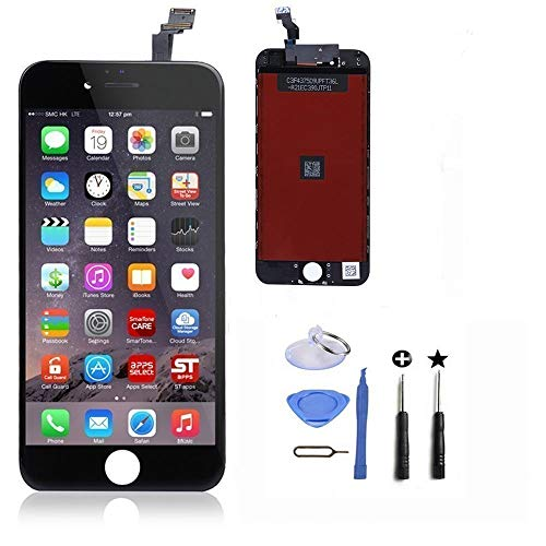 ZTR LCD Touch Screen Digitizer Frame Assembly Full Set LCD Touch Screen Replacement for iPhone 6(4.7 inch) (Black)