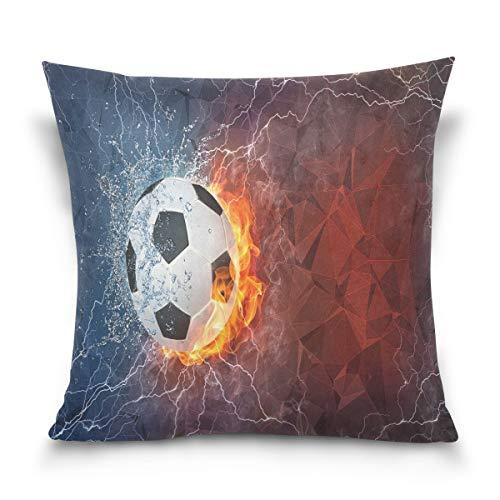 Funda de almohada decorativa para cojín cuadrado, pelota de fútbol en el fuego y agua abstracta sofá cama funda de almohada doble cara 12 x 12 pulgadas