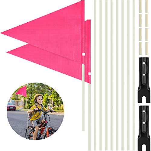 Tatuo 2 Stücke 6 ft Fahrrad Sicherheit Flagge mit Stange, Polyester Vollfarbig Wasserdicht Sicherheit Fahne mit Fahrrad Montage Halterung Verstellbare Höch Glasfaser Stange (Rosa)