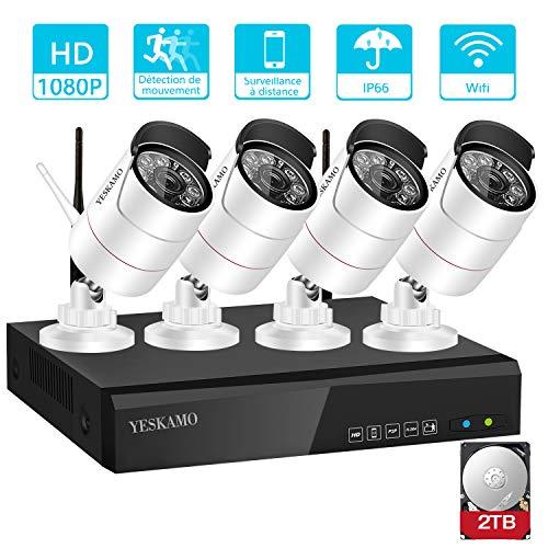 petit un compact Caméra de surveillance sans fil YES KAMO équipée d'un DVR 4CH 1080P et de 4 caméras Wi-Fi HD 2.0MP…