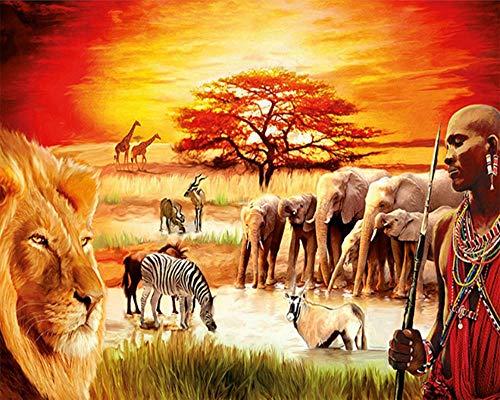 JINZUO Puzzle 3D Bambini 8 Anni Paesaggio Legno Adulto Arte Giocattolo Decorazione Regalo Panorama Animali Africani-1000 Pezzi