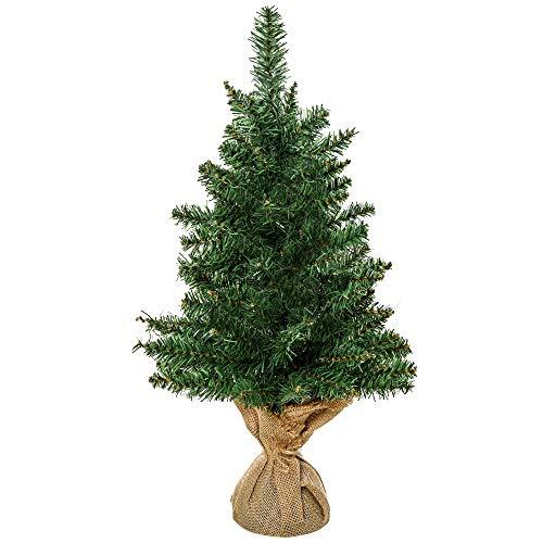 HOMCOM Weihnachtsbaum für Tisch 0,6 m Kleiner Christbaum Kunsttanne 70 Zweige Leinen PVC Zement Grün Ø35 x 60H cm